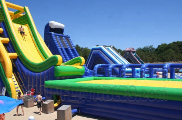 175x75x50 Commercial Inflatable Water Slide Free Fall Launch Bounce House Combo