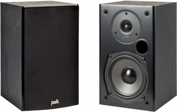 Polk Audio 2-Way Indoor Bookshelf Speaker in Black - Pair | T15
