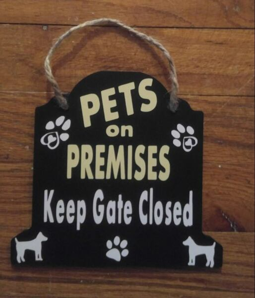 Personalized hanging Dog sign funny beware of dog warning sign Design your own $9.99