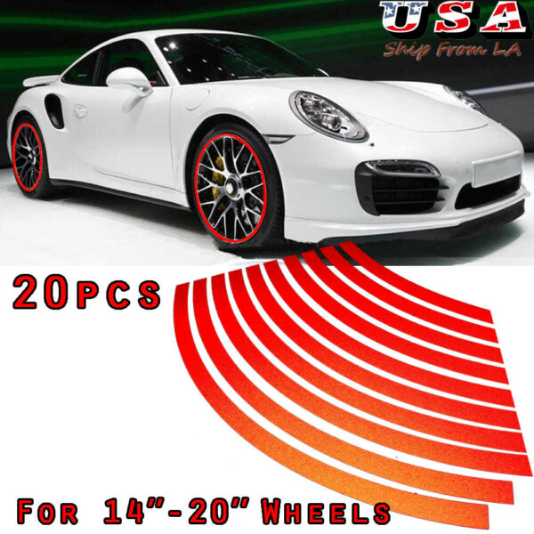 20pcs Red Reflective Car Wheel Hub Rim Stripe Tape Decal Stickers Universal