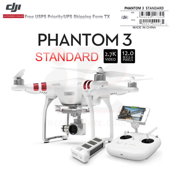 DJI Phantom 3 Standard RC Drone W/2.7K 12 Megapixel HD Camera and 3-Axis Gimbal