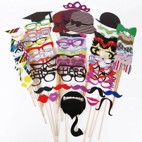 76PCS DIY Mask Photo Booth Props Mustache On A Stick Wedding Birthday Party