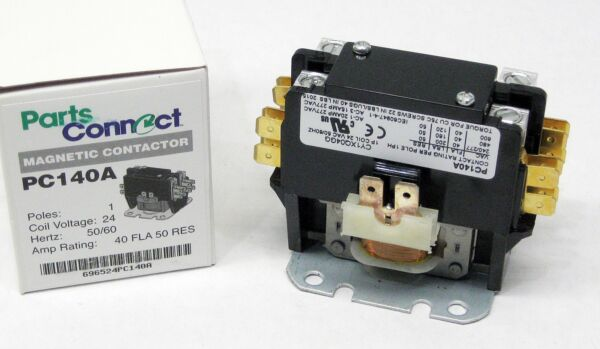 PC140A Contactor Single One 1 Pole 40 Amps 24 Volts A C Air Conditioner NEW $7.11