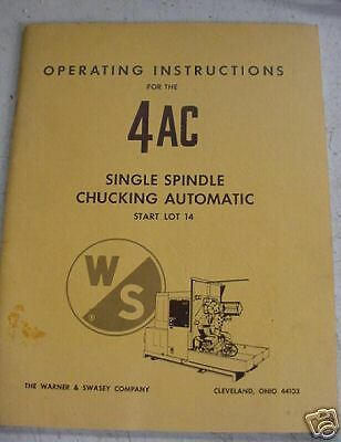 Warner Swasey 4AC Automatic Chucker Manual