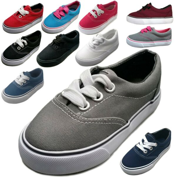 NEW Baby Toddler Infant Canvas Lace Up Sneaker Shoe Size 4 - 9 Boys Girls Unisex