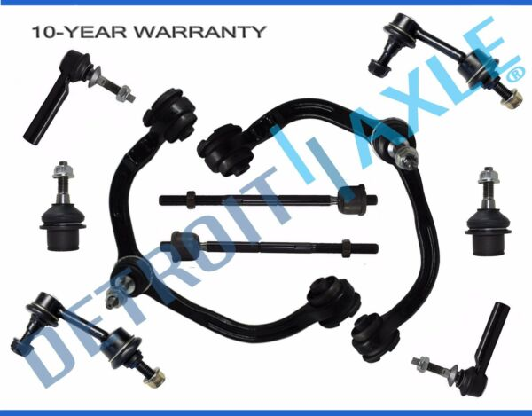 10pc Front Upper Control Arm Ball Joint Tierod for Ford Expedition Navigator
