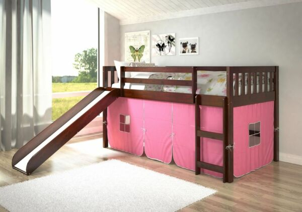 Low Bunk Beds with Slide & Tent Underneath - Cappuccino Finish