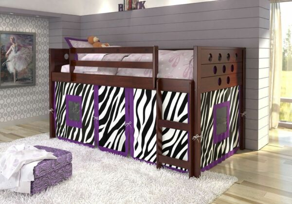 Twin Circles Low LoftBunk Bed for Girls with Tent Underneath Cappuccino Finish!
