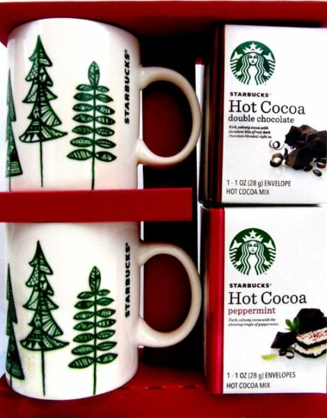 Starbucks 2015 CHRISTMAS TREE Coffee COCOAS Mugs (2) Cups 12 oz New in Box