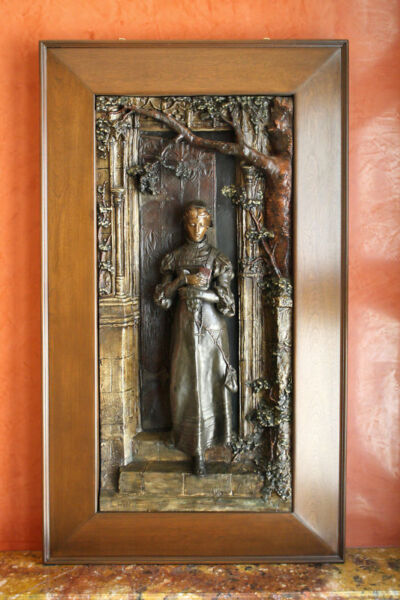 MAGNIFICENT 19C FRENCH  BRONZE  METAL WALL SCULPTURE BY  L.HOTTOT LISTED ARTIST