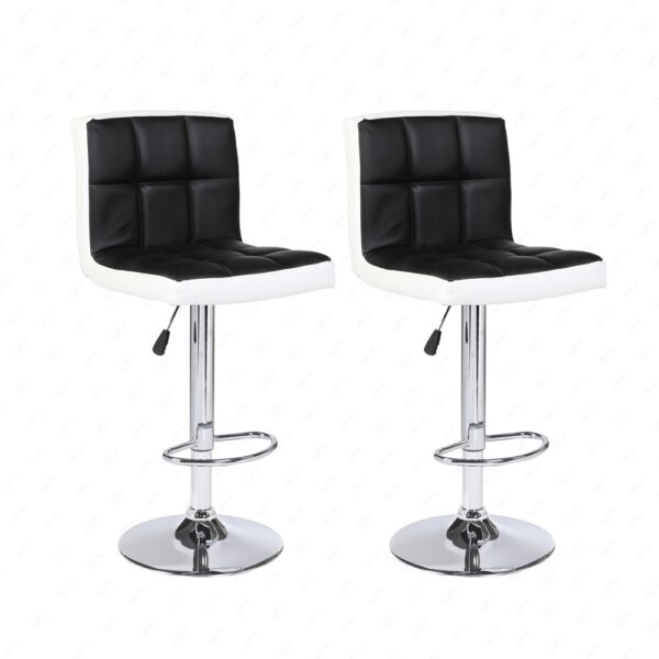 Set of 2 Leather Counter Height Bar Stools Swivel Pub Chair In Black and White