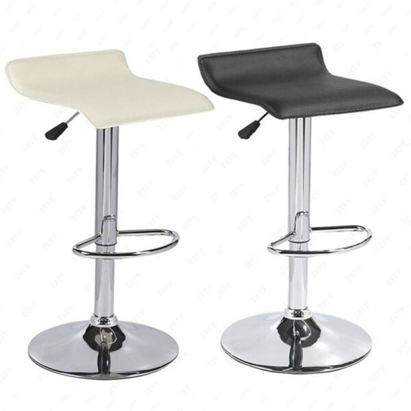 Set of 2 Counter Height Chrome Base Bar Stools Dinning Kitchen Chair Black