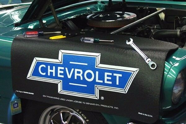 Chevrolet Black Bowtie car mechanics fender cover paint protector vintage style