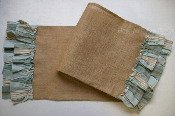 SWEETWATER Jute Burlap Runner with 4quot; Aqua Cotton Double Ruffle Trim 13quot; x 36quot;