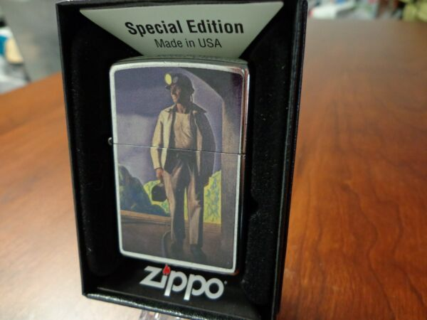 RAILROAD WORKER WITH LUNCH PAIL & HELMET LIGHT TUNNEL ZIPPO LIGHTER MINT IN BOX
