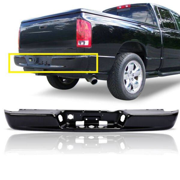 Rear Step Bumper Face Bar Black Steel For 02 08 Ram 1500 04 09 Ram 2500 3500