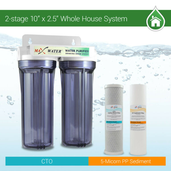 2 Stage10quot; Whole House Water Filter Sediment Carbon with Purple Clear