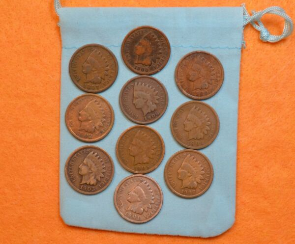 Lot Of 10 Vintage Indian Head Penny 1 Cent US Coins 1890s 1900s * SHIPS FREE *