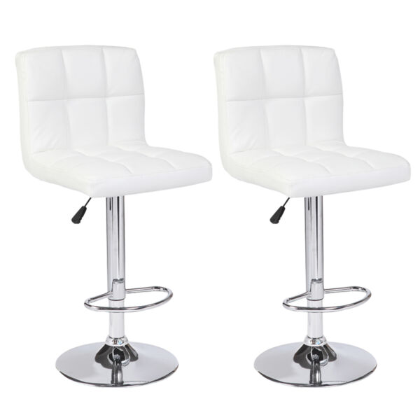 Set of 2 Counter Height White Leather Bar Stools Adjustable Swivel Pub Chairs