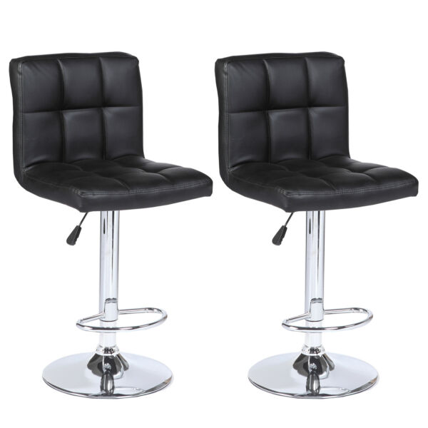 Set of 2 Counter Height Bar Stools Leather Adjustable Swivel Pub Chairs In Black