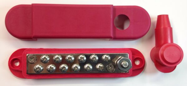 12 Point Terminal Junction Block Stainless Power Post Distribution Buss bar Red
