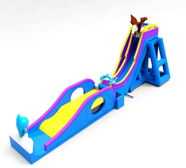 175x55x55 Commercial Inflatable Water Slide Free Fall Launch Bounce House Combo