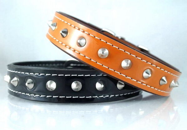 PU LEATHER SPIKED DOG COLLAR STUDDED PITBULL PET BUCKLE STAINLESS HARDWARE $5.99