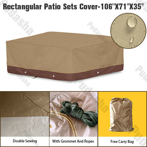 Deluxe Heavy Duty Waterproof Furniture Cover Rectangle Patio Table Chairs GS08P $37.99