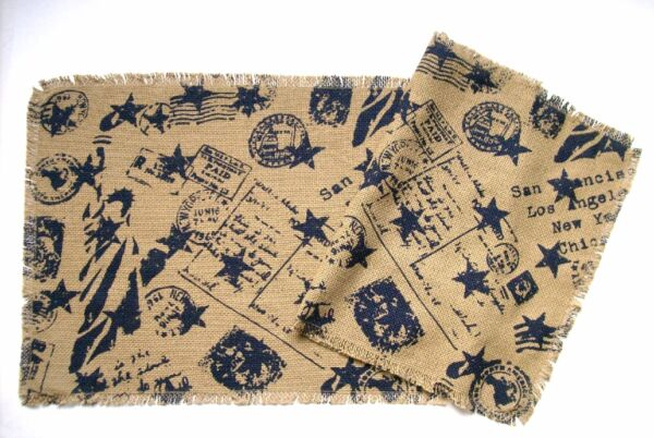 Stars amp; Post Card Script Cotton Burlap Table Runner