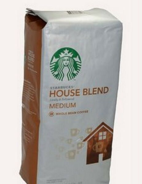 COFFEE STARBUCKS MEDIUM ROAST HOUSE BLEND WHOLE BEAN COFFEE 32 OZ SEALED