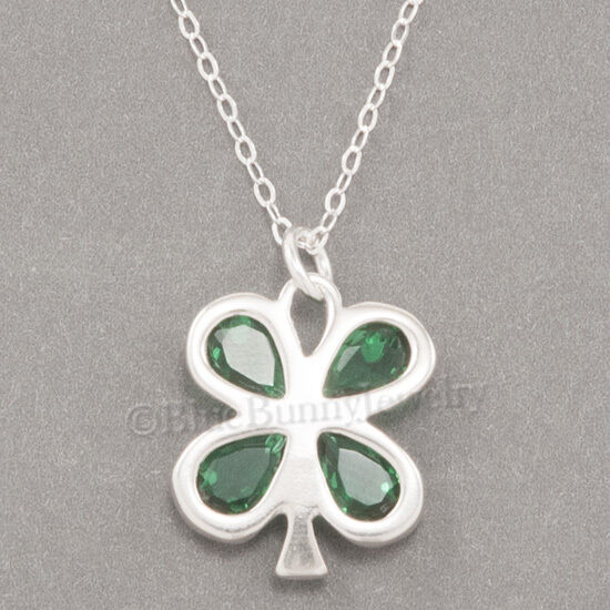 FOUR LEAF CLOVER Necklace Good LUCK Irish Charm Pendant STERLING SILVER 18