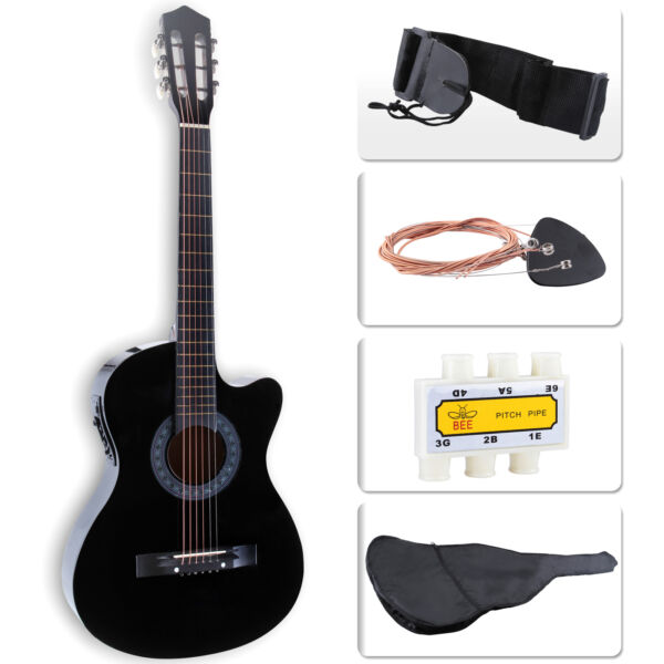 Cutaway Design Electric Acoustic Guitar with Guitar Case, Strap