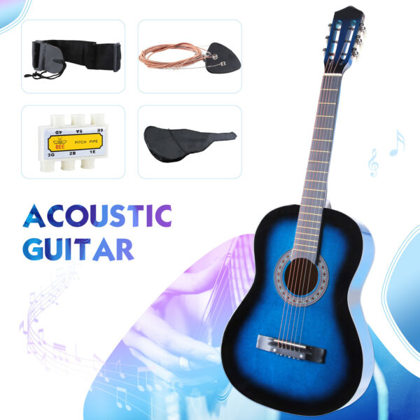 Beginners Acoustic Guitar with Guitar Case Strap Tuner & Pick Steel Strings Blue