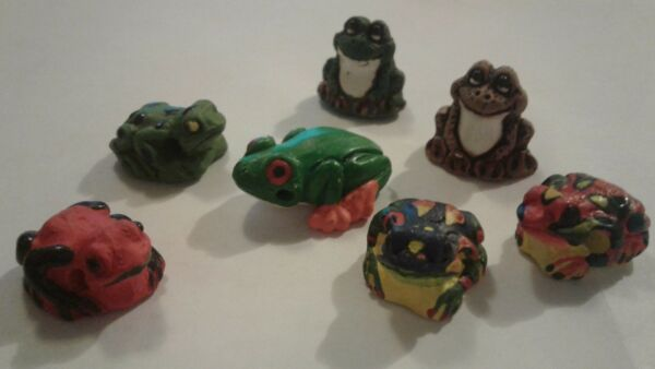 Peruvian Ceramic Green Red Brown Gray Frog Toad Bead Animal Single OR Lot DIY $14.65