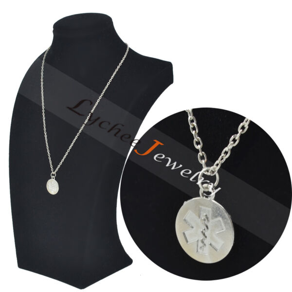 Medical Alert ID Pendant Necklace Silver Chain Alloy Unisex Charm Adjustable Pop