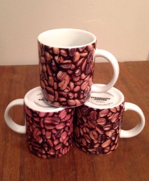 Starbucks 2007 Demitasse Mugs Set Of 3 2.9 Oz Espresso Coffee Tea Cup Bean Shot