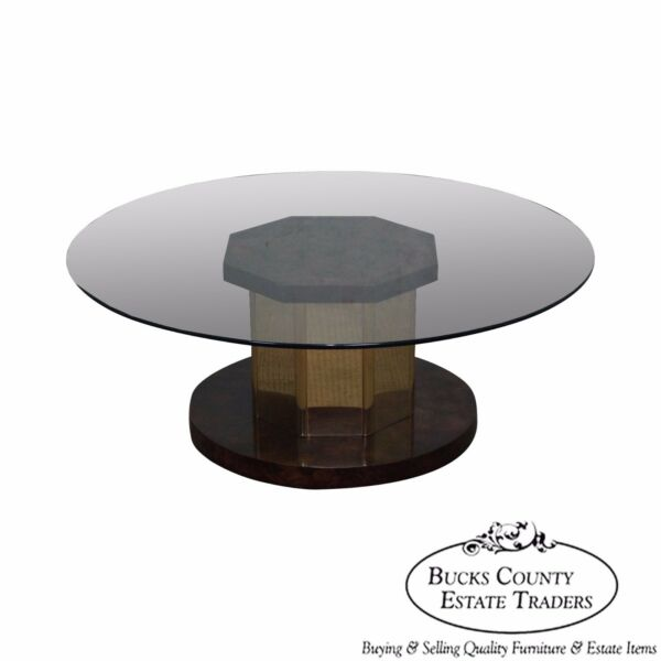Mastercraft Burl Wood & Brass Round Glass Top Coffee Table