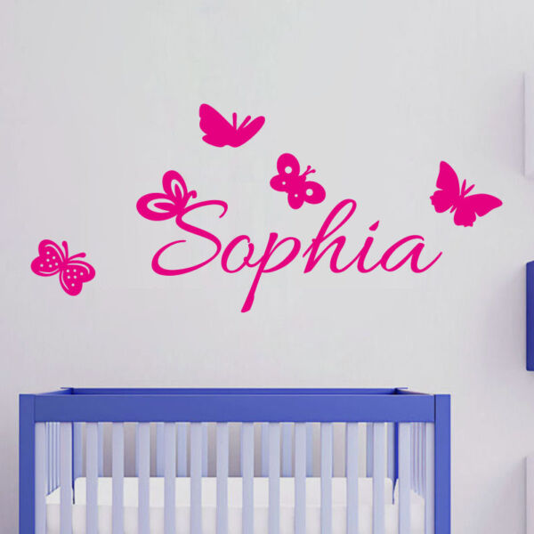 Custom Kids Name Wall Sticker Butterfly Personalized Decal For Girls Bedroom
