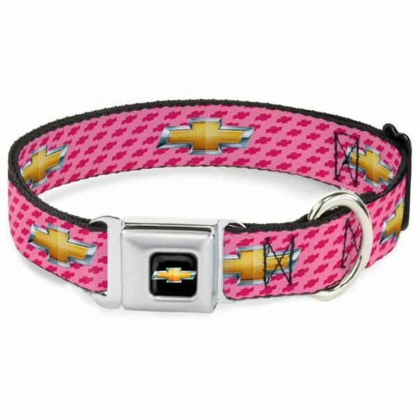 Buckle Down Chevrolet Logo Pink Small Seatbelt Buckle Dog Collar DC WCH010 S $21.99