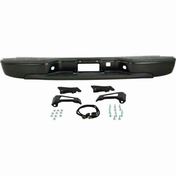 New Rear Step Bumper Black Steel For GMC Sierra Chevrolet Silverado 1999-2006