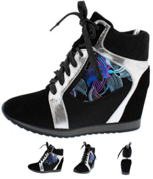 Women Fashion Shoes High Top Ankle Boots Wedge Sneakers Hidden Heels Lace Up S15