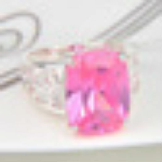 Fire Square Morganite Silver Plated Wedding Rings