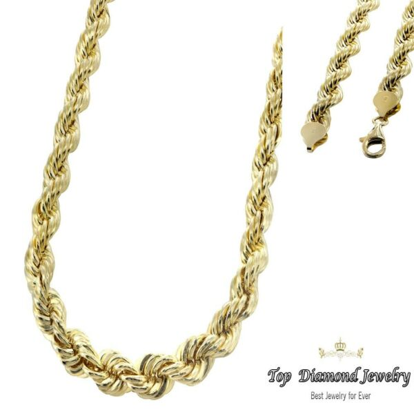 14K Yellow Gold Italy Diamond Cut Men's Solid Rope Chain Twist Necklace 5 mm