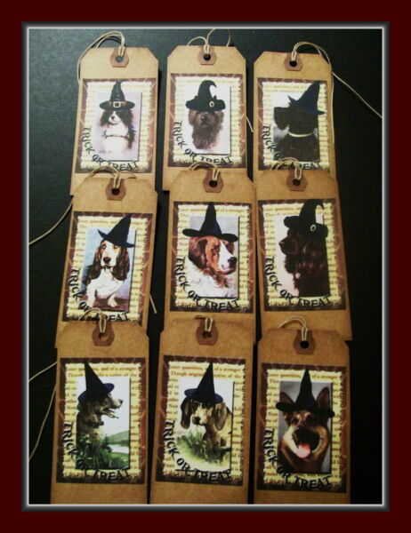 HALLOWEEN DOGS IN WITCH#x27;S HATS PRIMITIVE HANG TAGS NINE DIFFERENT DOG TAGS $3.99