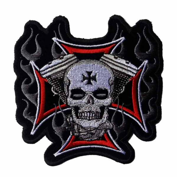 Cross Motor Skull Patch 11quot; Motorcycle Motorbike biker colorfast embroidered new $36.00