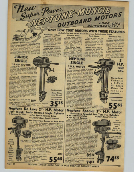 1942 PAPER AD 3 PG Water Master Wood Boat Neptune Muncie Outbaord Motor Specs $19.99