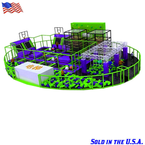 6000 sqft Commercial Trampoline Park We Finance 100% Climb Wall Inflatable Run