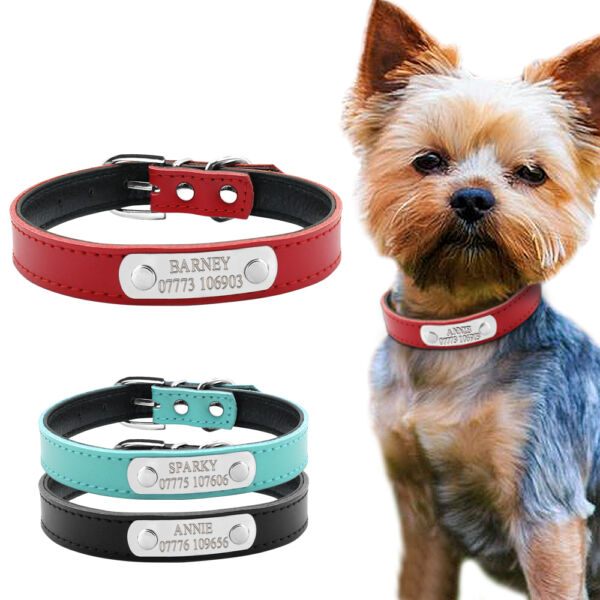 PU Leather Personalized Dog Collars Free Engraving Custom Cat Pet Name ID Collar $8.99