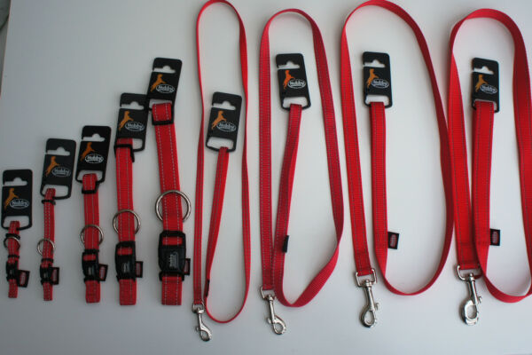 REFLECTIVE NYLON DOG COLLARS AND LEADS RED SMALL LARGE GBP 5.99