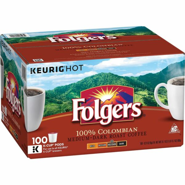 (100) FOLGER'S COLOMBIAN K-CUP SINGLE SERVE COFFEE PACKETS KUERIG K-CUP PODS